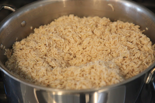 We also get to eat delicious and healthy brown rice.  It is cooked until just tender.