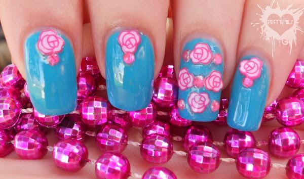 Blue&PinkFlowersNailDesign1 Pretty Pink Nail Designs