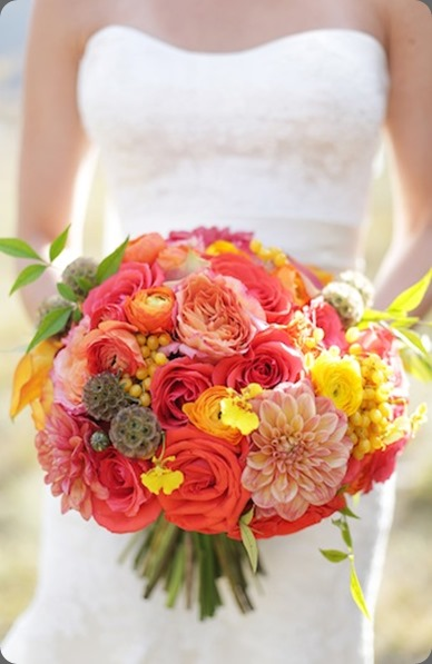 Coral Orange and Yellow Bouquet  Laura Murray Photography and cori cook floral design