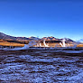 Sunrise over the Tatio geysers in the high Andes near San Pedro de Atacama