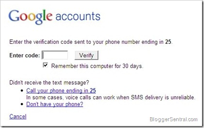 google verification code request