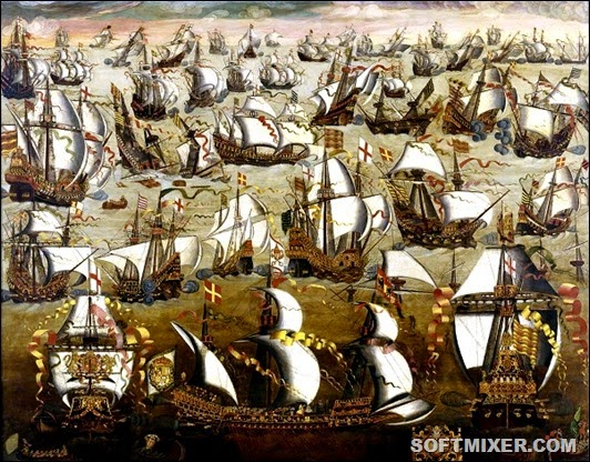 5_Сражение-Непобедимой-армады-с-английским-флотом.-Неизвестный-художник-английской-школы-XVI-век