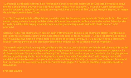 François Bayrou Referèndum UMP