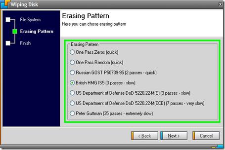 Disk Wipe Erasing Pattern