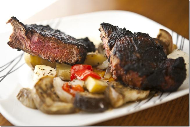 Bourbon Glazed New York Strip Steak with Grilled Vegetables-1