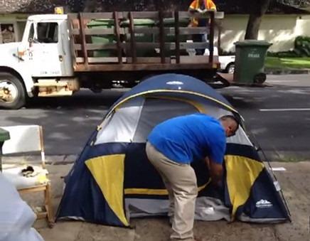 blue tent