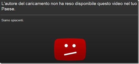 Vedere i video YouTube non disponibile nel tuo Paese