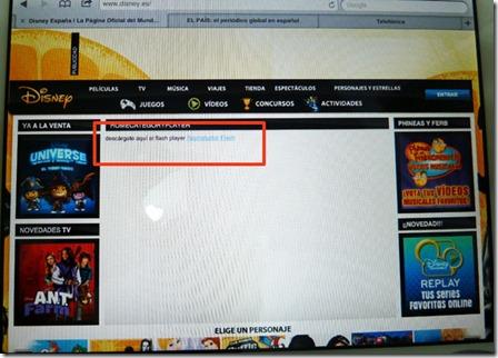 Web de Disney vista con iPad, no se muestra contenido alternativo, solo un texto y un enlace para descargar el plugin