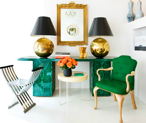 My favorite use of emerald and turquoise is a punchy, brave juxtaposition. The pattern on this table alone really speaks to me. (www.1stdibs.com)