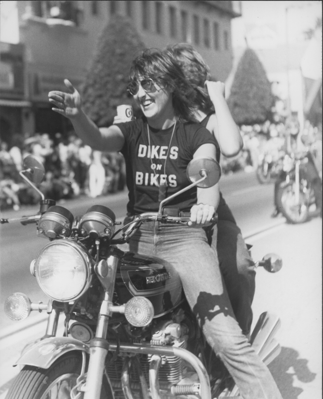 Dikes on Bikes leads the procession at the Los Angeles Christopher Street West pride parade. 1978.