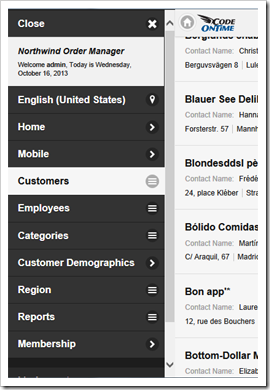 Navigation menu of a mobile user interace in web app created with Code OnTime app generator