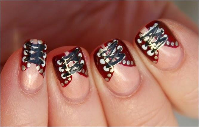 Nageldesign Nail Art Fabrics Corsage Mieder 01
