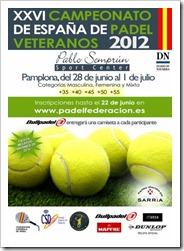 XXVI Campeonato de España de Pádel Veteranos 2012 en Pamplona del 28 junio al 1 julio.