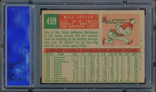 1959 Topps 459 Bill Tuttle back s