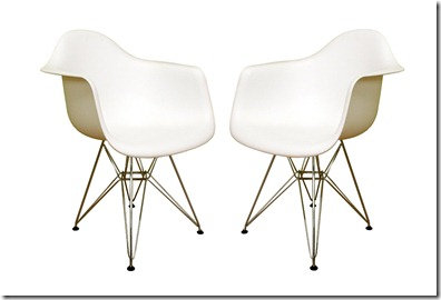 eames chair knockoff=baxton studio steel based armchair set