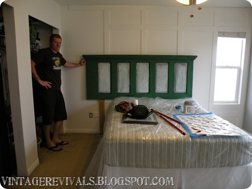 The door was WAAAAY longer than the bed. But this was not going to be a project fail. & Epic Room Makeover: Old Door Into Headboard Tutorial \u2022 Vintage Revivals