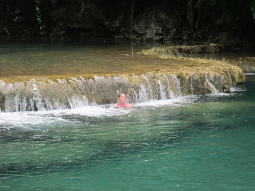 Heather taking a dip in the pools at Semuc Champey, Guatemala