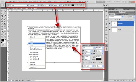 Paste text from MS Word in Adobe Photoshop