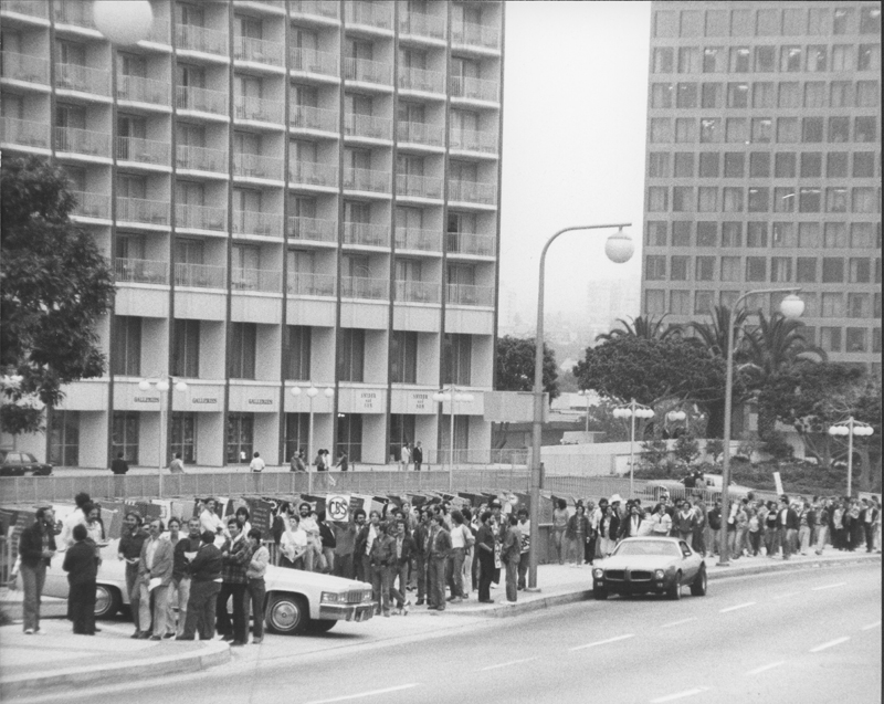 Protesters picket CBS offices over the broadcast of the news program special, Gay Power, Gay Politics. The pickets were organized by National Operation Tune-out CBS (NOT CBS). This demostration was one of a number of protests concerning the misrepresentation of the LGBT community by the media.  May 1980.