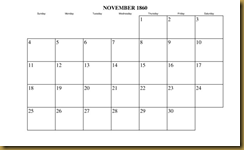Calendar, Nov 1860