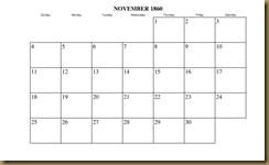 Calendar, Nov 1860