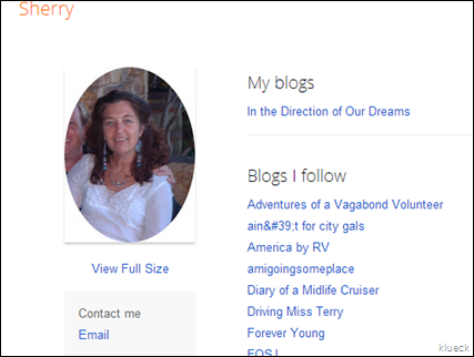 Blogger  User Profile  Sherry