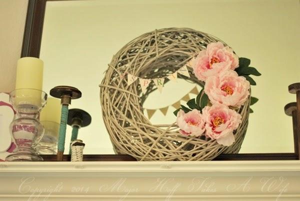 Spring Wreath Srping banner Light pink peonies