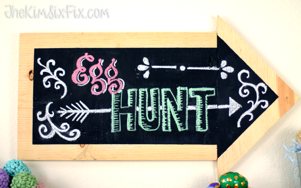 Chalkboard Arrow Egg Hunt sign