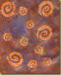 3.Lidl metasllic orange on brown patterned paper with paper resists and Lidl orange metallic swirled with Catalyst wedge  gloss AGL