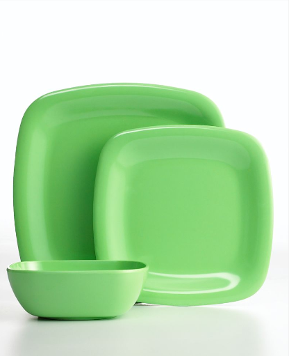 Even with everything shifting around in the back trunk, these tough melamine dishes won't break on you. Martha Stewart Collection (macys.com)