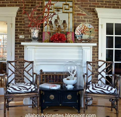 asian-inspired fireplace vignette