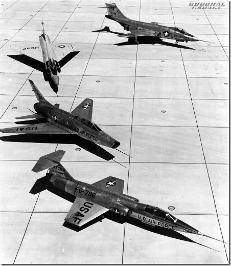 F-100A (S/N 53-1663), F-101 (S/N 53-2430), F-102 and F-104 (S/N 53-7786) on the ramp. (U.S. Air Force photo)