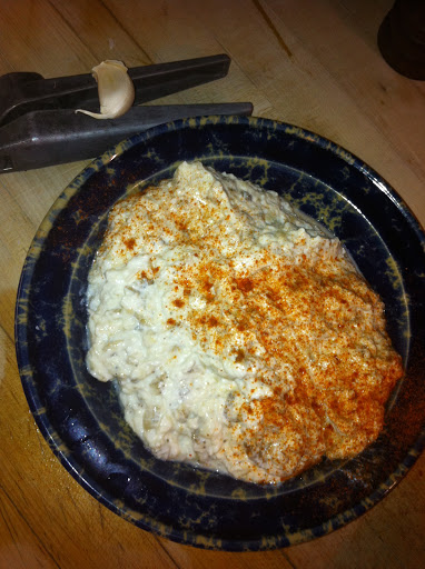 Eggplant Yogurt Dip: I love it but hubby hates eggplant so I don't cook enough of it!