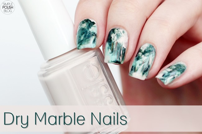 Dry-Marble-Nails-Saran-Wrap-Dark-Green-1