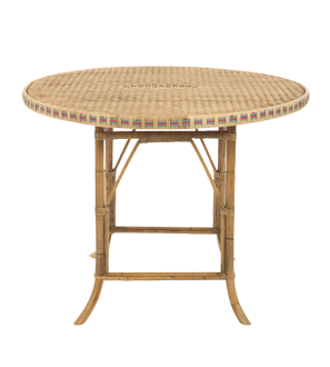 This table is a more understated bar. Its bamboo legs and wicker surface lend it a tropical feel.  (conranusa.com)
