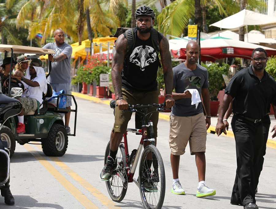 king james rides a bike wears lebron 11 shooting a new