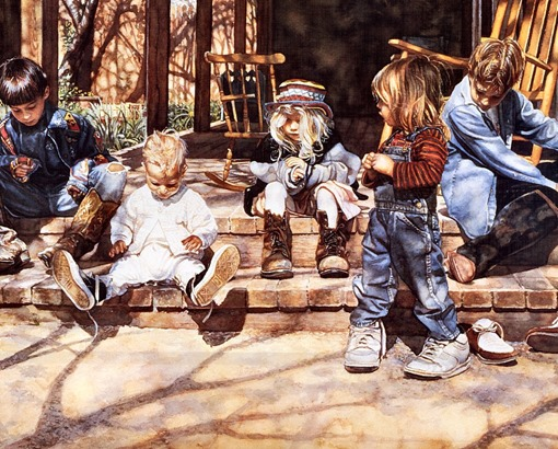 Steve Hanks, Big Shoes to Fill, акварель