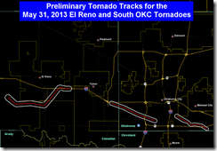 damage path of the El Reno and south OKC tornadoes