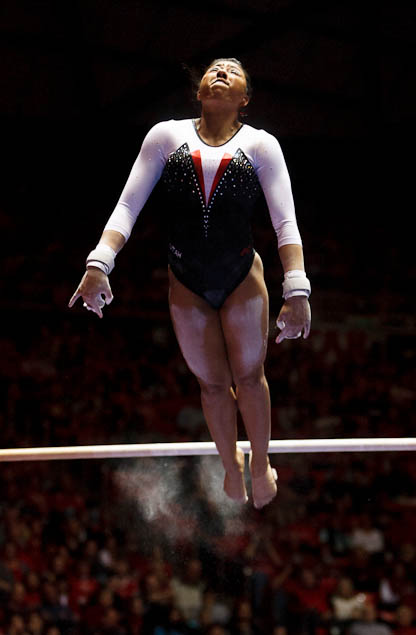 Utah's Kassandra Lopez on bars as the University of Utah hosts Georgia at the Huntsman Center, college gymnastics Friday, February 3, 2012 in Salt Lake City, Utah