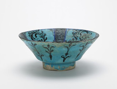 Bowl | Origin:  Iran | Period: early 13th century  Saljuq period | Details:  Not Available | Type: Stone-paste painted under transparent glaze | Size: H: 8.9  W: 21.6  cm | Museum Code: F1967.2 | Photograph and description taken from Freer and the Sackler (Smithsonian) Museums.