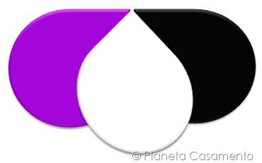 Paleta de Cores - Roxo Preto e Branco - Planeta Casamento