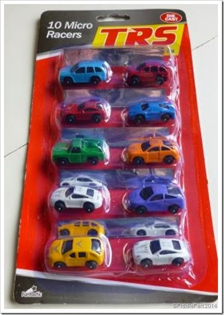 Poundland Micro racers. Car gift tags.