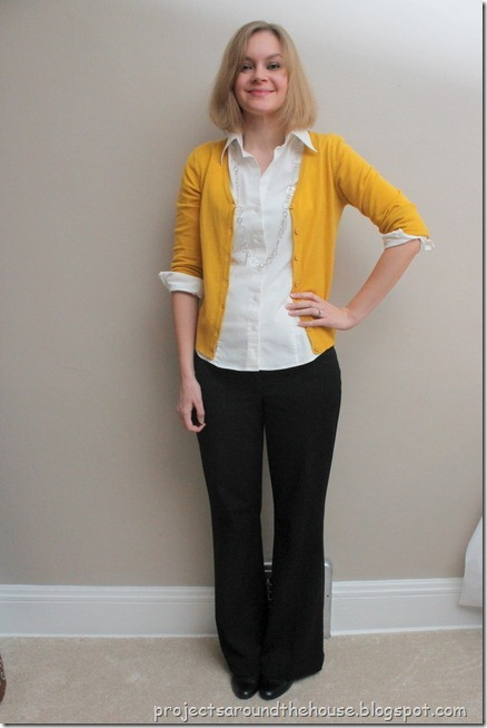 mustard cardi, white button down, black pants