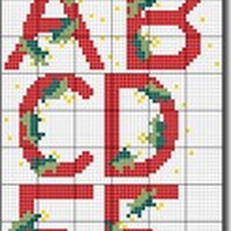 Punto de cruz abecedario navidad