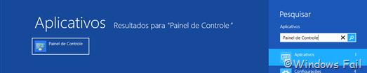 Digite Painel de Controle na tela inicial do Windows e clique em Painel de Controle