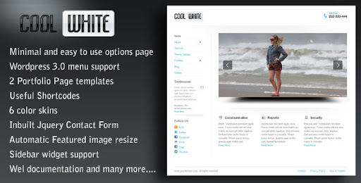 Cool White WP CMS Theme 6 in 1 for cool websites  - Business Corporate