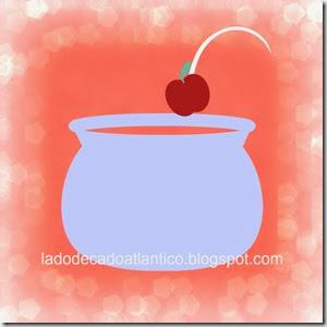 Ilustração banner de fundo salmão com uma maçã atirada para um caldeirão azul claro