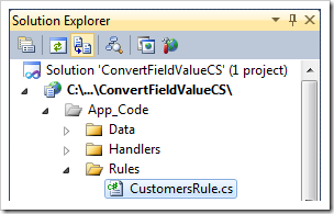 CustomersRule business rule file in the Solution Explorer.