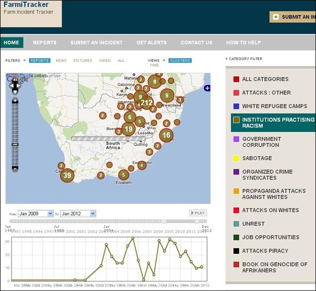 Hatespeech and aggression against whites in SA as logged on Farmitracker 2012