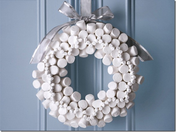 Winter wreath--white marshmallow wreath